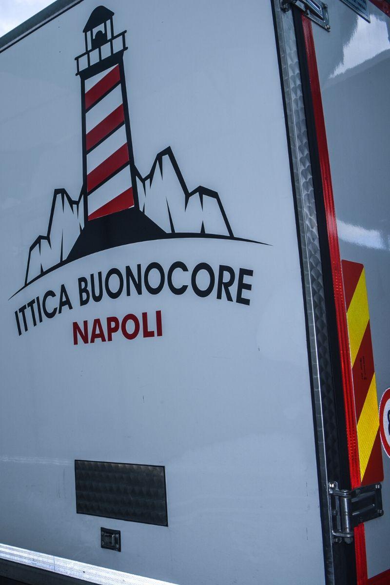 Foto del retro di un furgono di Ittica Buonocore con Logo aziendale in evidenza
